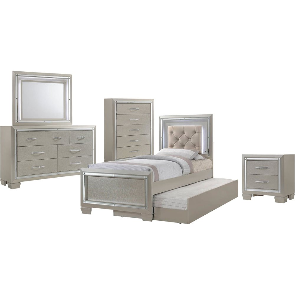 Elegance 5 Piece Bedroom Suite: Twin Bed with Trundle, Dresser, Mirror, Chest, and Nightstand