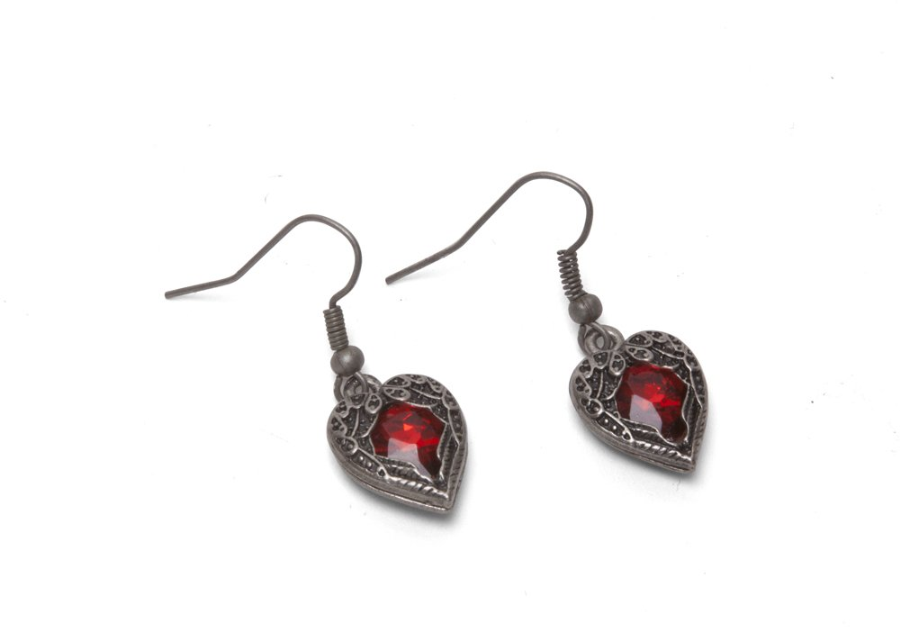 Steampunk Earrings - Winged Heart - Red 3