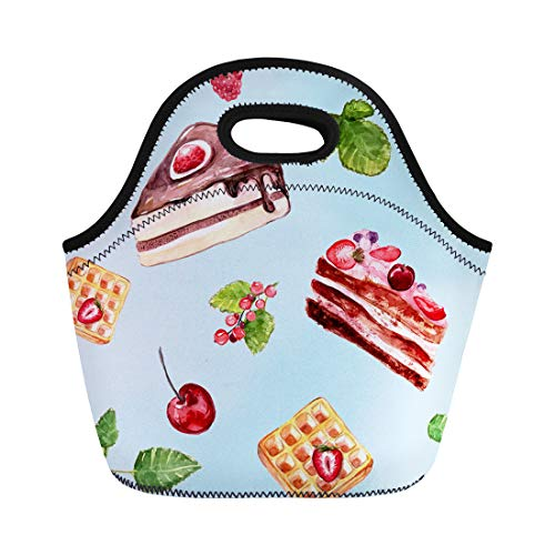 Semtomn Lunch Bags Blue Cherry Watercolor Desserts Cakes Red Currant and Cherries Neoprene Lunch Bag Lunchbox Tote Bag Portable Picnic Bag Cooler Bag