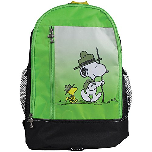 PEANUTS Snoopy & Woodstock - Nylon Hike Backpack w/ Zipper And Mesh Pouches -