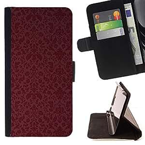 """For Samsung Galaxy J1 J100,S-type Maroon Papel pintado retro"""" - Dibujo PU billetera de cuero Funda Case Caso de la piel de la bolsa protectora"""