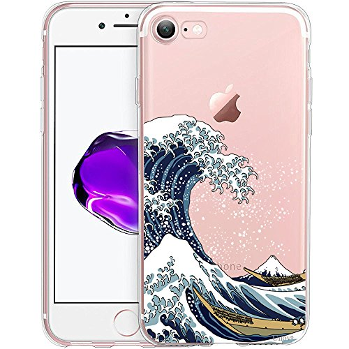 Silicone Wave (iPhone 7 Case, Unov iPhone 8 Case Clear with Design Embossed Pattern TPU Soft Bumper Shock Absorption Slim Protective Cover for Apple iPhone 7/8 4.7 Inch(Great Wave))
