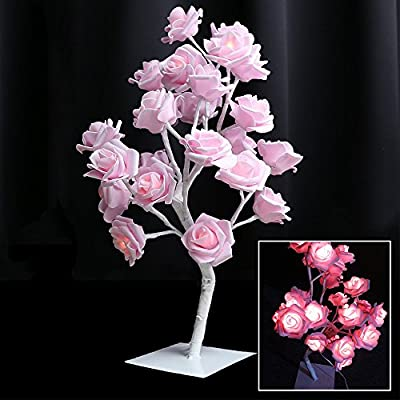 PinPle Tree Light Rose Flower Table Lamp Home Decoration Lights with 24 LEDs 15.4ft Rose Flower Tree Lights for Home / Christmas / Party / Wedding / Valentine's Day