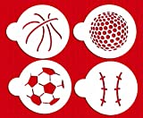 Designer Stencils C218 Large Sports Ball Cookie Stencils (Basketball - Golf - Soccer - Baseball), Beige/semi-transparent