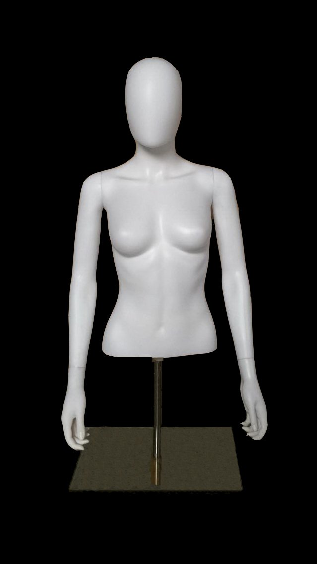 OM Female Table Top Torso Mannequin Form W/Abstract Egg Head Style and Adjustable Height White (EFT1) Made By OM