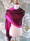 Silk Evening Wrap, Silk Shawl, Two-tone Fuchsia and Black, Oversized Scarf Scarf, Evening Shawl, Handmade