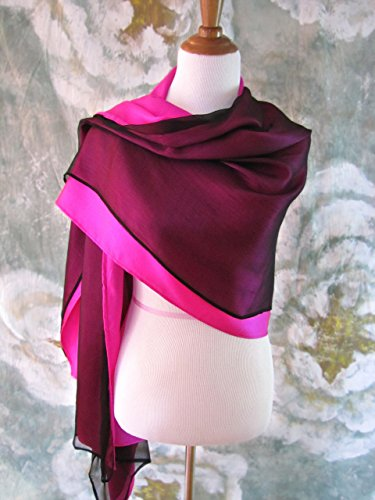 Silk Evening Wrap, Silk Shawl, Two-tone Fuchsia and Black, Oversized Scarf Scarf, Evening Shawl, Handmade by Silky Affection