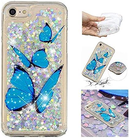 E-Panda Custodia Cover Apple iPhone 7 8 Farfalla Blu Brillantini ...