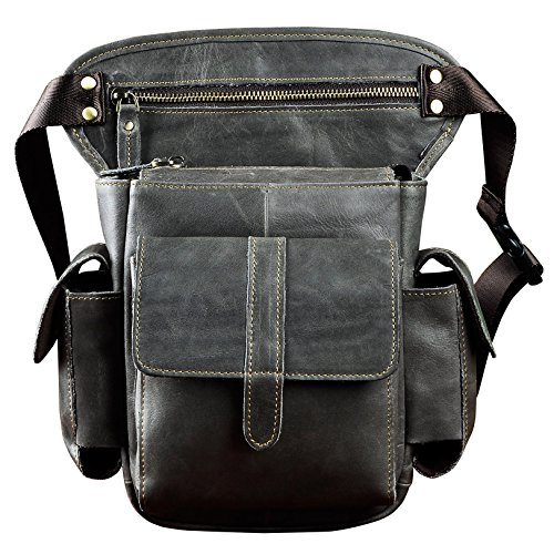 (Le'aokuu Mens Genuine Leather Bike Cycling Waist Hip Bum Fanny Pack Drop Leg Bag (913-5 Dark Grey))