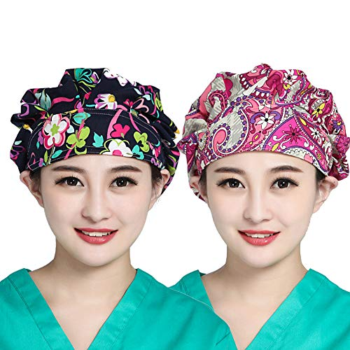 BW Bouffant Scrub Cap Surgical Hat Cotton Flowers Pattern Printing for Women Ponytail