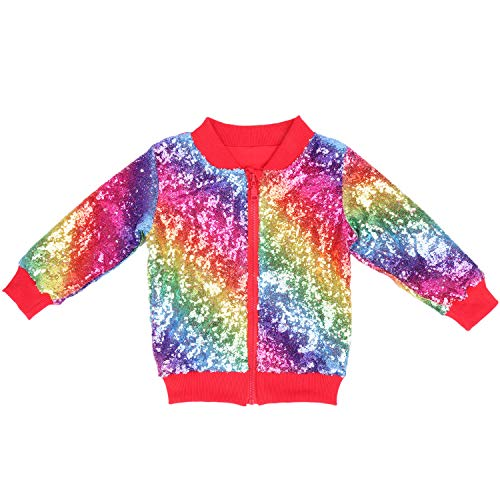 Cilucu Kids Jackets Girls Boys Sequin Zipper Coat Jacket for Toddler Birthday Christmas Clothes Bomber Red Rainbow 3-4T