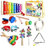 SMART WALLABY Musical Instruments Set with Xylophone for Kids. 15 Pcs. Toddler Wooden Toy Percussion Set with a Free Musical Games eBook Bonus (Little Band)