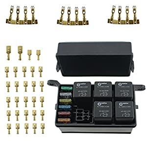 51nc6MIH9wL._SY300_ amazon com iztoss 12 slot relay box 6 relays 6 blade fuses fuse fuse and relay box for automotive at crackthecode.co
