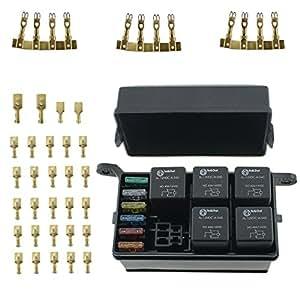 51nc6MIH9wL._SY300_QL70_ amazon com iztoss 12 slot relay box 6 relays 6 blade fuses fuse waterproof fuse relay box facebook at creativeand.co