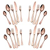 Rose Gold Cullery Set 20 Pack,Kitchen Silverware/Flatware Anti-rust Utensil Set,Stainless Steel Dinnerware Set Service for 4 Include Knife Fork Spoon,Dishwasher Safe (Mirror Polished)