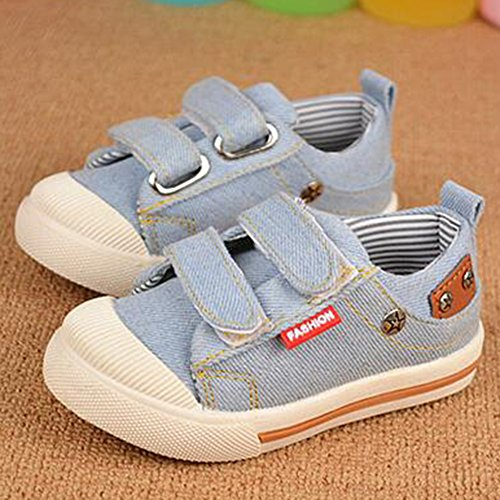 Highdas Deportes Chicas Lona Pisos Niños Zapatos Kids Sneakers Casual Sneakers in Jeans Color Kids Shoes Azul claro