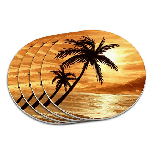 - Sunset Beach Palm Tree Hawaii Paradise Orange Coaster Set