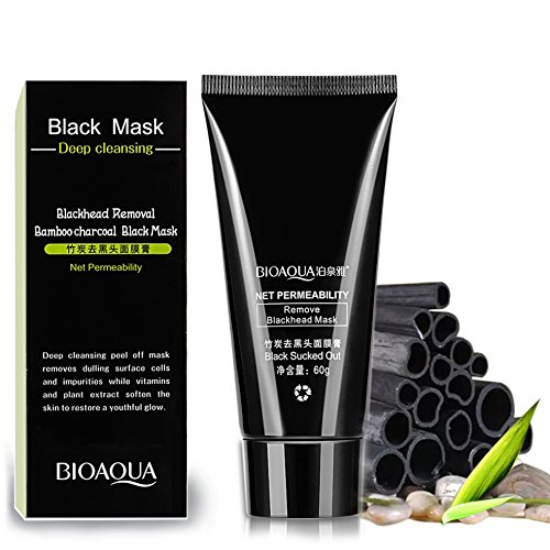 Blackhead Remover Mask,Black Facial Mask Activated Charcoal Face Mask Pore Control Skin Cleansing Purifying Bamboo Charcoal black mask purifying peel 60g
