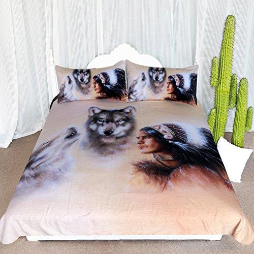 ARIGHTEX Chief Bedding 3 Piece Wolf Bedding Set Boys Mens Bedspreads Howling Wolf Wild Animals Duvet Cover (Queen)