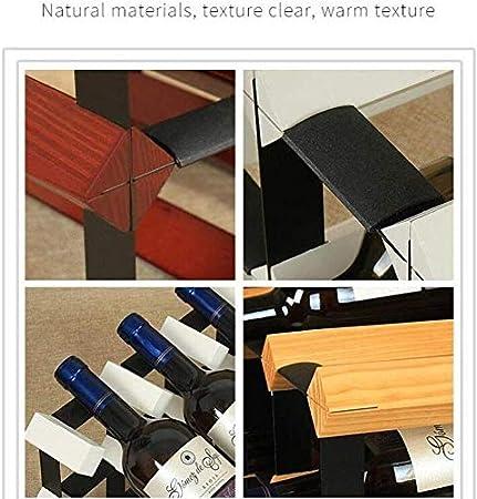 HJXSXHZ366 Estantería de Vino -15 Botellas de Vino de Mesa Rack de Vino Marco Decorativo, botellero de pie Libre for la Barra/Cocina, Vino Tinto Estante de Vino pequeño (Color : Wine Red)