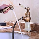 AWXJX Sink Taps European retro style copper Washbasin Hot and cold jade