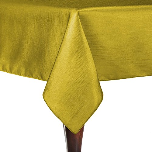 Ultimate Textile Reversible Shantung Satin - Majestic 72 x 72-Inch Square Tablecloth Gold