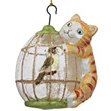 BestPysanky Cat on a Bird Cage Glass Christmas Ornament 4 Inches