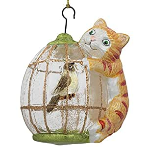 """BestPysanky 4"""" Cat on a Bird Cage Glass Christmas Ornament"""