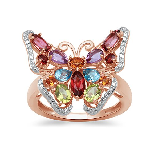 Jewelili 18kt Rose Gold Plated Sterling Silver 6x3mm, 5x3mm and 4x3mm Multi Gemstones Butterfly Ring, Size 7