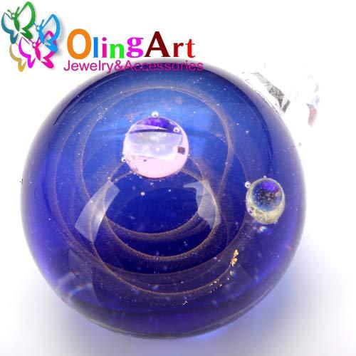 - Calvas New Lamp Work Beads 1PCS Dia 23MM Round Fantastic Starry Milky Way Shape Hand Made Glass Pendant DIY Jewelry Making - (Color: XK01 1PCS)