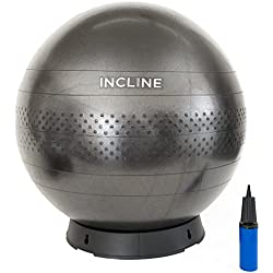 Incline Fit Anti-Burst Yoga Exercise Ball with Pump and Ball Base, black