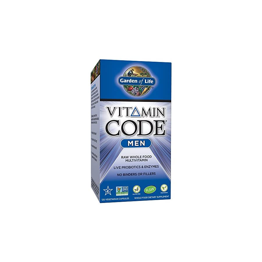 Garden of Life Vegetarian Multivitamin Supplement for Men Vitamin Code Men's Raw Whole Food Vitamin with Probiotics