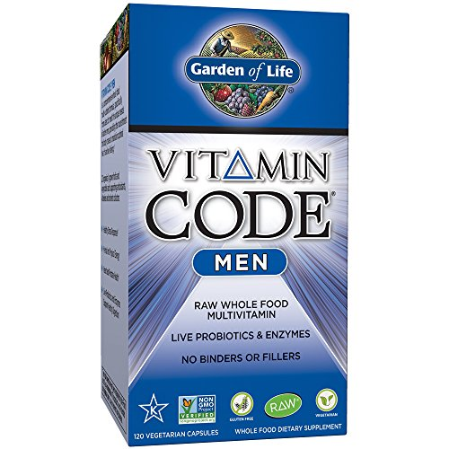 Garden of Life Multivitamin for Men - Vitamin Code Men's Raw Whole Food Vitamin Supplement with Probiotics, Vegetarian, 120 Capsules - Folic Acid B-50 250 Capsules
