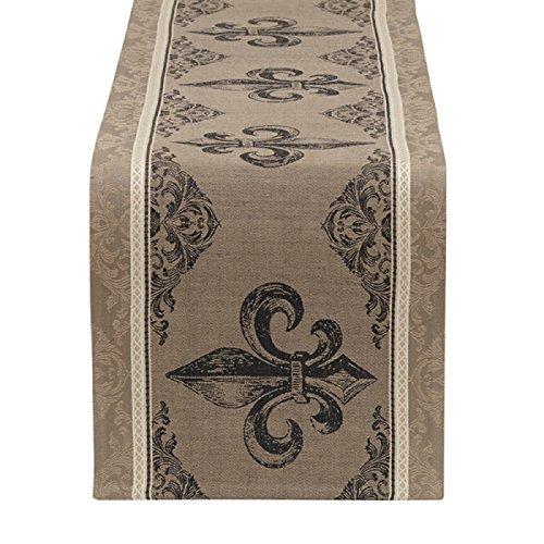 Fleur Stripe - DII Design Imports Fleur De Lis Stripe Jacquard Table Runner 14 x 72