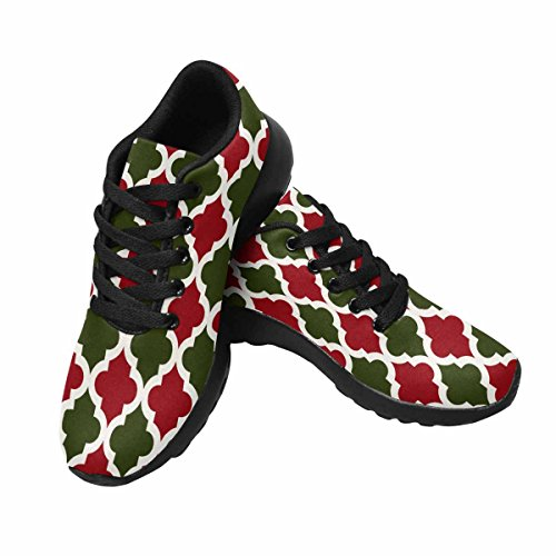 InterestPrint Womens Jogging Running Sneaker Lightweight Go Easy Walking Comfort Sports Running Shoes Christmas Quatrefoil Red and Green Pattern Multi 1 LOpXLCHvLp