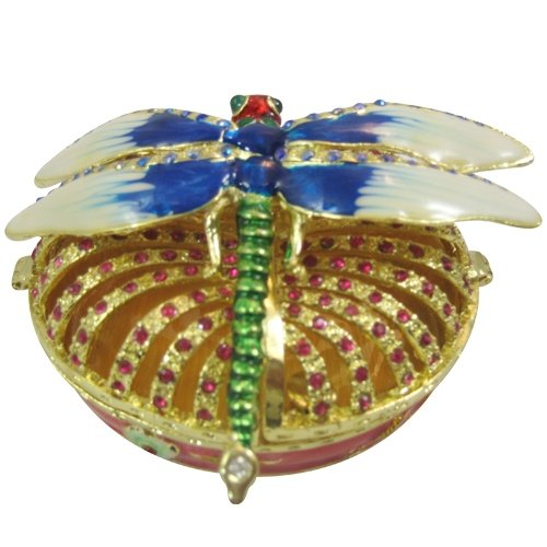 Genie Lamp Purse ([NEW] Jewelry Trinket Box Figurine Case Vintage Collectible for Keepsake Art Decor Holder Pill Organizer- Magnet Secured Storage, Jeweled w/ Crystals (Engraved & Detailed Cases) (Dragonfly)