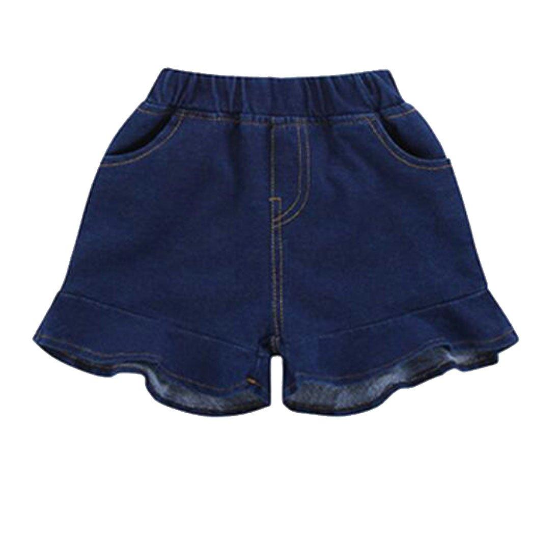 Cromoncent Little Kids Girls' Fashion Elastic Waist Ruffle Faded Hot Pants Denim Shorts Denim Blue 6/7T