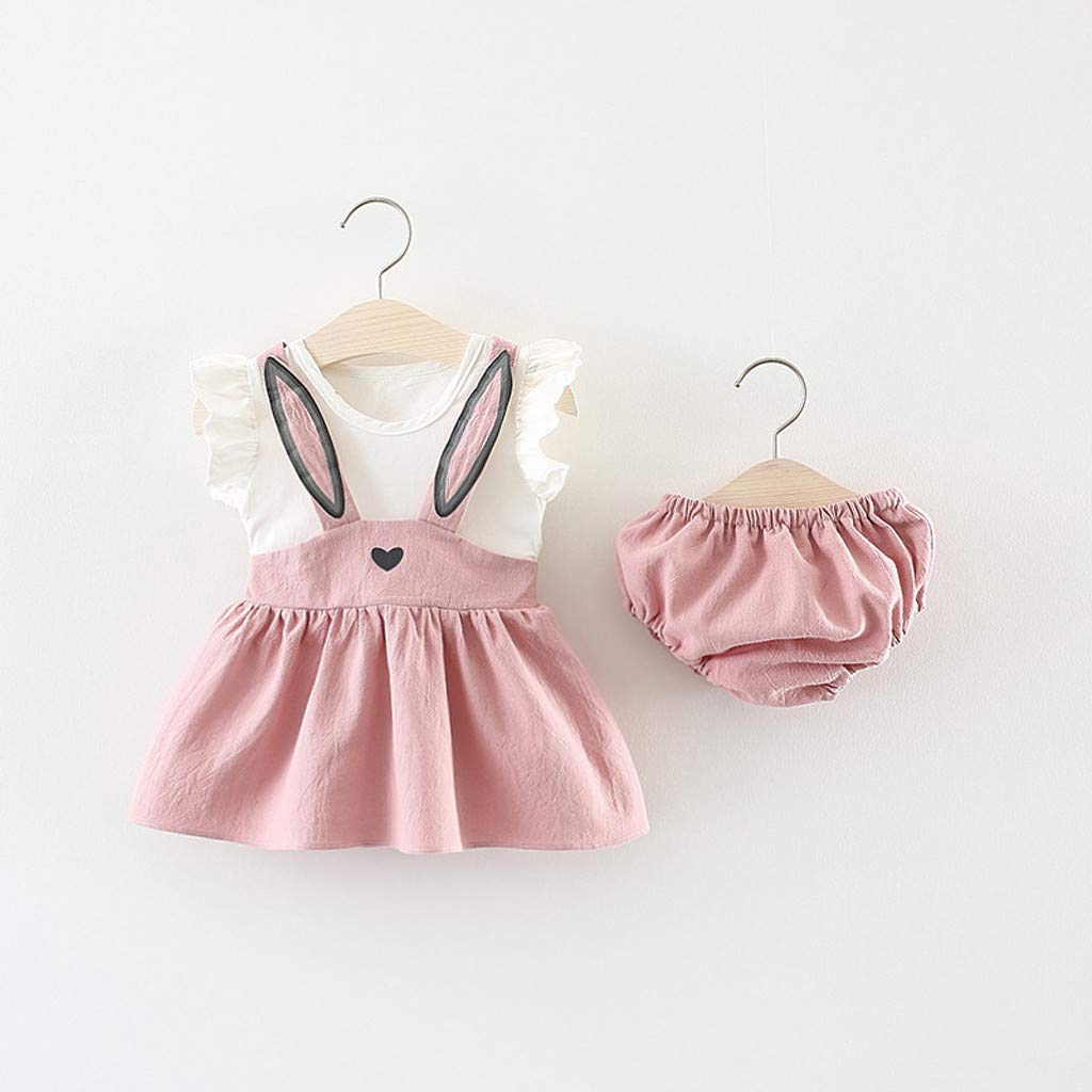 Toddler Baby Girl Solid Outfits,Suma-ma Infant Girls Straps Ruffle Tops T Shirt Pants Headband Playsuit 3Pcs Set