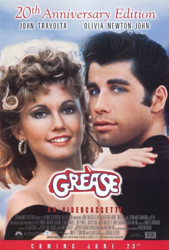GREASE MOVIE POSTER 1 Sided ORIGINAL R1998 VIDEO POSTER 27x4