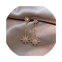 Women's Long Crystal Star Earrings