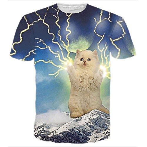 RAISEVERN Unisex 3d Lightning Cat Printed Hip Hop Style T-Shirts