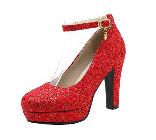 Odomolor Women's High-Heels Solid Buckle PU Round-Toe Pumps-Shoes Red NEx6eEWNIt