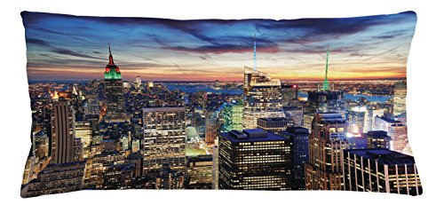 Nyc Throw Pillow (New York Throw Pillow Cushion Cover by Ambesonne, Skyline of NYC with Urban Skyscrapers at Sunset Dawn Streets USA Architecture, Decorative Square Accent Pillow Case, 36 X 16 Inches, Orange Blue)