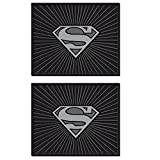 Superman Silver Shield Logo DC Comics Cartoon Superhero Character Car Truck SUV Rear Seat Utility Rubber Floor Mats - PAIR