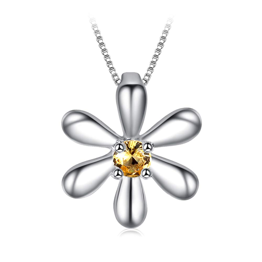 VERA NOVA JEWELRY Flower 0.14Ct Orange Synthetic Citrine Round-Shape Sterling Silver Pendant Necklace with 18-inch Box Chain