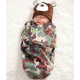 Camo Bunting & Bear Cap Set