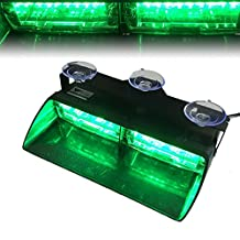 T Tocas(tm) 16 LED High Intensity Law Enforcement Strobe Lights, for Vehicle Truck SUV Interior Roof / Dash / Windshield with Suction Cups (Green)