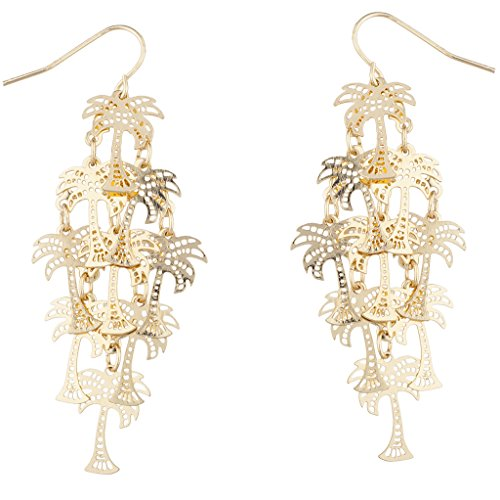 Lux Accessories Gold Tone Palm Tree Tropical Vacation Chandelier Dangle Earrings (Tree Palm Earrings Tropical)