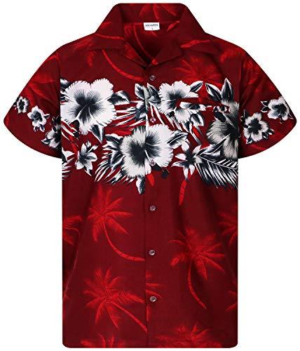 - Funky Hawaiian Shirt, Shortsleeve, Flower Chestprint New, Red, XS