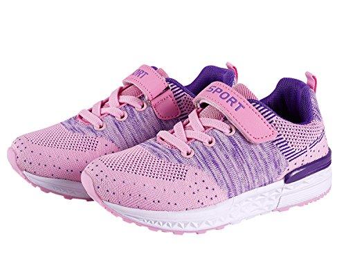 SITAILE Unisex-Kinder Hallenschuhe Junge Mädchen Sportschuhe Atmungsaktiv Turnschuhe Laufschuhe Trainer Sneaker Shoes Leichtgewicht Rosa
